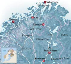 1 Rovaniemi. Es el acceso principal a la región finlandesa de Laponia. 2 P.N. Pyhä-Luosto. Tiene una extensa estación de deportes de invierno. 3 Karasjok. Esta ciudad noruega es el centro político y social sami. 4 Cabo Norte. El extremo norte del continente europeo dispone de un centro de visitantes y un museo. Se accede desde la ciudad de Honingsvag. 5 Alta. Los petroglifos que alberga su museo tienen más de 6.000 años. 6 Trømso. La Catedral Ártica y el Museo Polar son visitas…