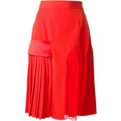 Givenchy banded midi skirt ($770) ❤ liked on Polyvore featuring skirts, dresses, red, red knee length skirt, givenchy, midi skirt, high waisted knee length skirt and pleated midi skirt