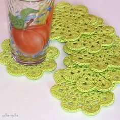 Crochet Coasters Set of 6 pcs Light green Placemat by yolkaigolka, $24.00