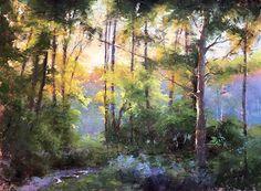 Landscape pastel on uart 400 grit, Jacob Aguiar Pastel Watercolor, Watercolor Trees, Watercolor Landscape, Landscape Paintings, Soft Pastel Art, Pastel Artwork, Pastel Paintings, Pastel Style, Soft Pastels