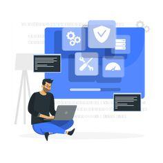 Website Illustration, Flat Illustration, Computer Presentation, Infographic Website, Old Software, Process Map, Conveyor System, Business Card Template Word, Operating System