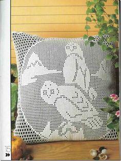 almofada de coruja de croche
