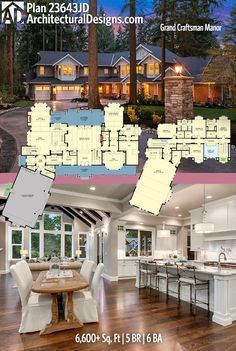 Not exactly my style but interesting layout Architectural Designs Plan has 5 beds and 6 baths and square feet of heated living space. Where do YOU want to build? Dream House Plans, House Floor Plans, My Dream Home, 6 Bedroom House Plans, The Plan, How To Plan, Open Layout, House Layouts, Great Rooms