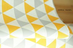 "Nordic triangle Fabric-Scandinavian Fabric -62"" x 35""-100% Cotton-Nordic pattern - scandinavian pattern - Color Yellow, Gray - KB [#B0003]"