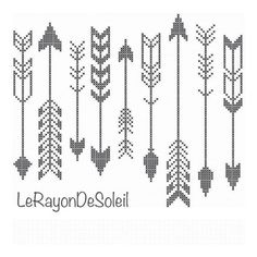 Modern cross stitch pattern indian arrows black white by LeRayonDeSoleil on Etsy Modern Cross Stitch Patterns, Counted Cross Stitch Patterns, Cross Stitch Embroidery, Loom Beading, Beading Patterns, Embroidery Patterns, Indian Embroidery, Mochila Crochet, Motifs Perler