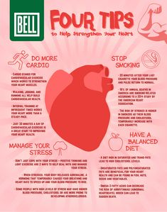Four Tips to Help Strengthen Your Heart [Infographic] - Heart Health Health Eating, Health Diet, Health And Nutrition, Health And Wellness, Health Fitness, Oral Health, Natural Blood Pressure, Healthy Blood Pressure, Lower Blood Pressure