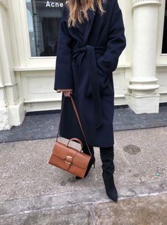 Navy belted winter coat