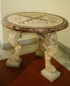 Rome - Marble and mosaic table from Pompeii AD) - Naples Archaeological Museum