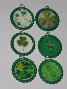 6 St. Patrick's Shamrocks Flattened Green Bottle Cap Charms Ornies Party Jewelry #StPatricks