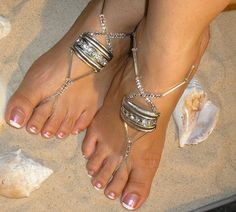Crystal Barefoot Sandals Happi Feet Handmade Pair by HappiFeet, $65.00