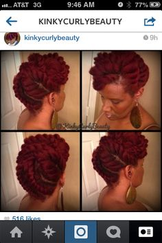 KinkyCurlyBeauty InstaGram Jumbo flat twist pinup. This is a set of nine (9) flat twists (six (6) in the top and three (3) in the back), pinned with six (6) bobby pins. YouTube.com/KinkyCurleeBeauties