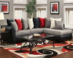 Living Room Grey Sets Ideas Red And