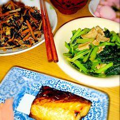 小松菜食べると健康になった気がしますq(^-^q) - 10件のもぐもぐ - 鯖の干物とひじきと小松菜炒め煮 by tokko