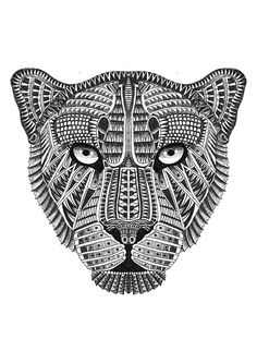 """A series of """"Big Cats"""" drawn in an ornate pattern/style. Here is the list of the. A series of """"Big Cats"""" drawn in an ornate pattern/style. Here is the list of the Owls featured:Leopard, Jaguar, Chee Big Cat Tattoo, Lion Tattoo, Mandalas Drawing, Big Cats Art, Cat Art, Animal Sketches, Animal Drawings, Cheetah Logo, Tattoo Ideas"""