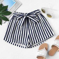 Striped Self Tie Waist Shorts Summer Shorts Outfits, Short Outfits, Spring Outfits, Girl Outfits, Casual Outfits, Fashion Outfits, Bow Shorts, Tie Waist Shorts, Stripe Shorts