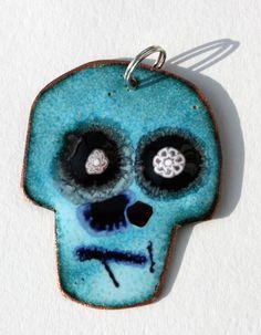 Blue enamel skull pendant.  Enamel jewelry by Katherine Reekie.