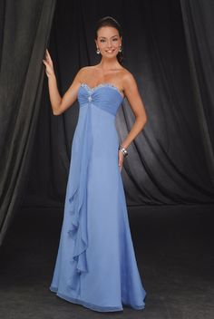 2015 Sleeveless Sweetheart Blue Ruched Floor Length Chiffon Mother of the Bride Dresses MBD0087