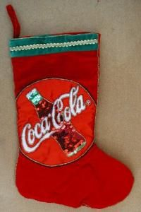 Coca Cola Christmas Stocking Sequins Beaded Trim by cafs02