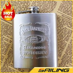 Thickening 7oz Jack Daniels Stainless Steel Pocket Flask Russian Hip Flask Male Small Portable Mini Shot Bottles,Free Shipping!