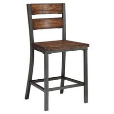 """Counter stools with metal framing and distressed hardwood accents.  Product: Counter stoolConstruction Material: Hardwood solids and metal Color: Brown and blackFeatures: Distressed finish24.5"""" Seat height Dimensions: 41"""" H x 20"""" W x 21.5"""" D"""