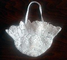 vintage Romanian ivory white handmade macrame basket 1950s handcraft lace decor