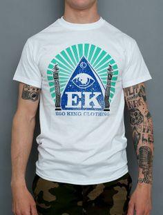 Ego King Clothing Pillars on white tee