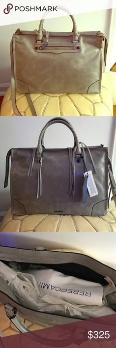 """Rebecca Minkoff Regan Satche Tote Brand new! Size: large. Color: cemento. Natural wear on the leather. Comes with removable shoulder strap. Dust bag included. 10.5"""" H x 14.75"""" L x 6.75"""" D 4.25"""" Handle Drop 20"""" Strap Drop Rebecca Minkoff Bags Totes"""