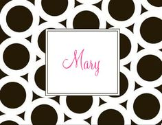 Personalized Black Circle Foldover Note Cards.