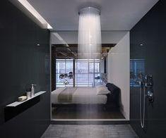 Kombineret soveværelse/badeværelse