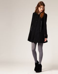 ASOS - Peacoat and Ankle Boots with Contrasting Leggings