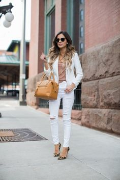 Topshop White Blazer (similar here) & Topshop White Distressed Jeans (wearing a size also love these) & Urban Outfitters Nude Tee & Kurt Geiger Leopard Heels (similar here) & THE POST Best White Jeans, White Jeans Outfit, White Ripped Jeans, White Distressed Jeans, Pants Outfit, White Pants, Skinny Jeans, Summer Work Outfits, Casual Work Outfits