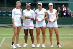 Champions 2012  Girls' doubles champions Eugenie Bouchard and Taylor Townsend pose with runners-up Belinda Bencic and Ana Konjuh. - Jon Buckle/AELTC
