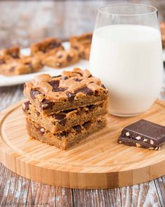 These chocolate chunk cookie bars are ultra chewy and loaded with chocolate chunks in every bite! This easy recipe is all made by hand and in one bowl.