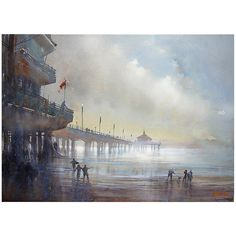 Manhattan Beach Pier One from long ago Parthenon Athens, Manhattan Beach Pier, Watercolor Landscape, Watercolour, Landscape Art, My Art Studio, Pacific Beach, Abstract Painters, Watercolor Techniques