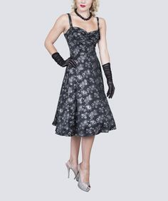 Another great find on #zulily! Silver & Black Raindrop A-Line Dress - Women & Plus #zulilyfinds