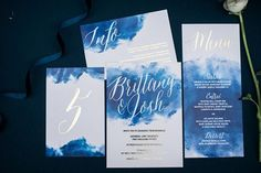 Blue and Silver Watercolor Invitation Suite   Henry Photography   Indigo and Pewter Wedding Palette