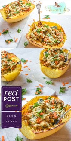 Click for original post Serves: 4 Time: 1:20 m (20 m prep, 1 h cook) Ingredients: (Ingredients and measurements subject to availability) - 2 medium spaghetti squash (6-7 inches long) - 2 organic chick