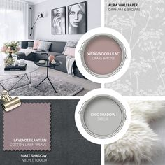 Monday Moodboard - Give a Scandi-inspired lounge a feminine touch with a dose of blush pink. Add natural textures with sheepskin and wallpaper with a botanical print. Blush Pink Living Room, Purple Rooms, Living Room Grey, Home Living Room, Living Room Designs, Living Room Decor, Room Color Schemes, Room Colors, Green Lounge