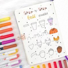 Here are some cute little autumn step by step doodles 🍁 Bullet Journal Titles, Bullet Journal Notebook, Bullet Journal Inspiration, Doodle Drawings, Easy Drawings, Autumn Doodles, Bujo Doodles, Doodle Art Journals, Little Doodles