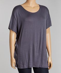 Look at this #zulilyfind! Charcoal Scoop Neck Top - Plus by Poliana Plus #zulilyfinds