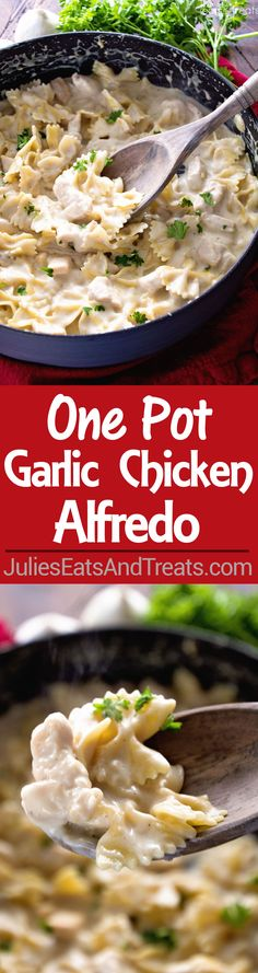 One Pot Garlic Chicken Alfredo Recipe ~ Quick and Easy Chicken Alfredo Recipe Loaded with Garlic and Even on the Lighter Side! Perfect Weeknight Dinner Recipe!