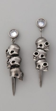 Noir Jewelry 3 Skull Pirate Earrings - StyleSays.... hahah reminds me of death eaters