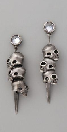 Noir Jewelry 3 Skull Pirate Earrings - StyleSays