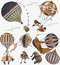 Ex-Large Birds Vintage Hot Air Balloon Animal nursery toddler baby hand painted look Repositionable fabric Wall decals Wall Art Balloon Chandelier, Edition Jeunesse, Wall Appliques, Wall Decals, Wall Art, Balloon Animals, Hot Air Balloon, Baby Balloon, Balloon Rides