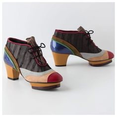 Kron by Kronkron 4 Anthro Sculptural Colorblocks Patches of color overtake this pair from the heel to toe to cutaway platform, the Sculptural Colorblock Lace-Ups for Anthropologie. I know nothing about Icelandic design, but if these shoes are an indicator, I'm a fan! Fun, unrestrained, contagious ... these shoes are icing for your feet! These are sold out - despite the price tag. You will not find these anywhere but here in my closet on PM!  Designed in Iceland, made is Spain, RARELY…