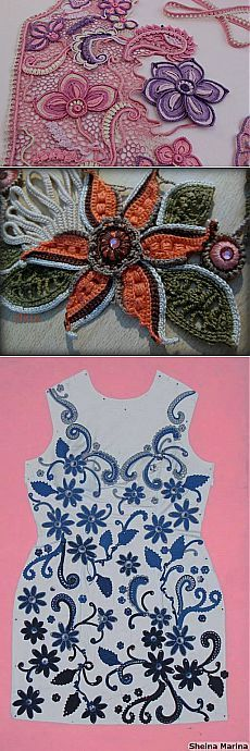 Hmm, so you can pattern out your crochet item by drawing a rough sketch of the design. Then pick your patterns for the individual flowers, leaves, etc.  It's not the same as actual free-form crochet but it's good for those afraid to simply free-form the whole piece.