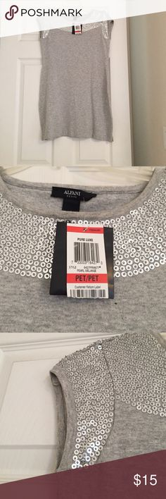 Alfani Top Gray and Silver Sequined Top. Brand new! Never worn. Pair it with leggings or skinny jeans. Alfani Tops