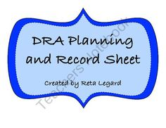 DRA Planning and Record Sheet from Second Grade Superstars on TeachersNotebook.com (2 pages)