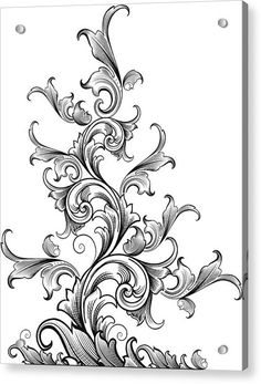 Vector drawing of classic Victorian scrollwork designed by a hand engraver. Light and airy with delicately detailed tendrils. Scale to any size without loss of detail with the. Arabesque, Ornament Drawing, Scroll Pattern, Wow Art, Acanthus, Free Illustrations, Hand Engraving, Tattoo Inspiration, Tribal Tattoos
