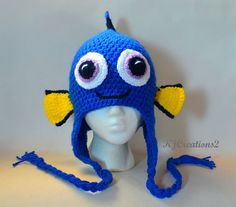 Crochet Blue Fish hat All sizes available earflap by kjcreations2
